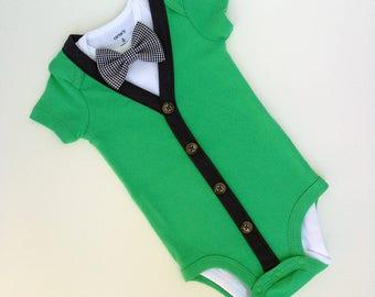 Green/ Charcoal Grey Short Sleeve Baby Boy 3pc Cardigan Onesie & Bow Tie Set