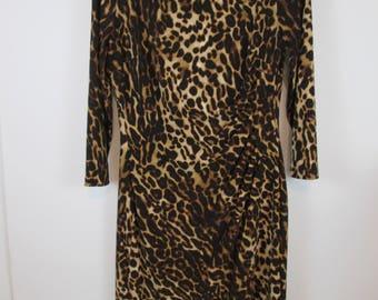 Women Ralph Lauren Stretch Ruched Waist Boat-Neck Dress Sz 10 Animal Print #D9