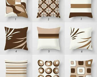 Neutral Throw Pillows, Beige, Brown Pillow Covers, Off White Pillows, Geometric Toss Pillows, Mix and Match, Sofa Pillows Decorative Pillows