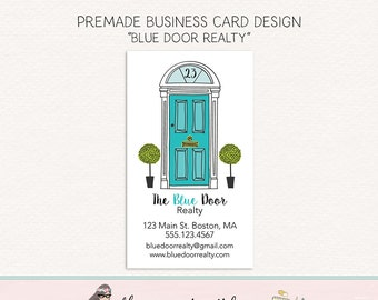 realtor business card realty  business card calling card social card thank you card premade business door business card photography card