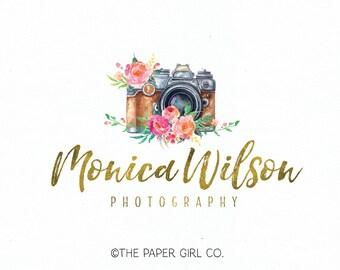 camera logo design photography logo vintage camera logo premade logo photographers logo watercolor logo design wedding logo design watermark