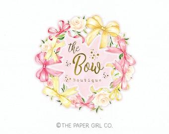 bow logo design bow shop logo watercolor wreath logo premade logo design boutique logo gold foil logo watercolour logo boutique logo design