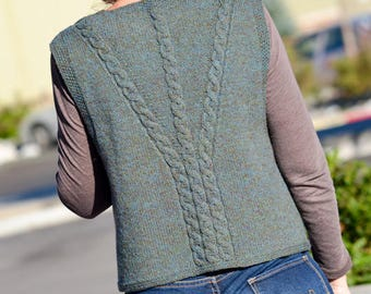 Celtic Cables Slipover (Vest) Knitting Pattern