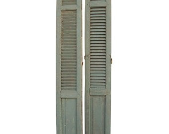 Pair Tall Rustic French Shutters French Country Farmhouse Shutters Paris Apartment Shabby Tall Shutters Vintage European Gustavian Shutters
