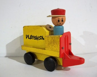 Vintage Playskool Train and Engineer Dude - FREE SHIPPING!!!