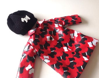 Sasha Doll Raincoat with or without Beanie Hat - Raincoat Revival Collection - Scottie - Who let the dogs out? - Choice of Hat colour