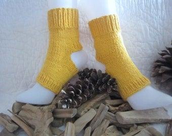 100% Cotton  Knitted Handmade Yoga  Toeless Pedicure Dance leg warmers Pilates socks