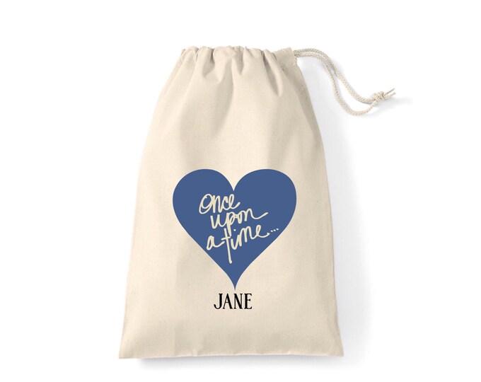 Personalised Once upon a time... Wedding gift bag, Brides keepsake bag. Sometime blue.