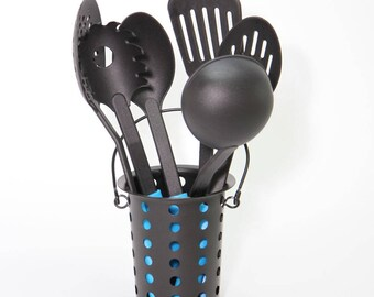 Black Metal Utensil Holder, Cutlery holder.  - CUT1