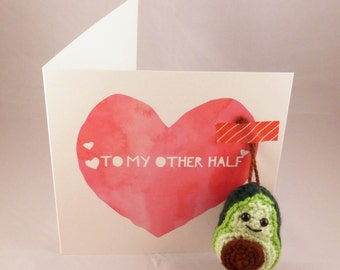 Avocado Crochet Valentines Card - Amigurumi Avocado - Vegan Valentines Card  -Avocado Valentines Card - Avocado Ornament - Vegan Veggie Gift