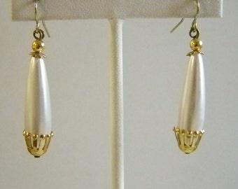 Long Pearl Dangle Pierced Earrings