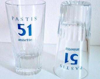 Lot de 2 verres a pastis 51 anisette, verres de bistrot français , décoration Vintage France