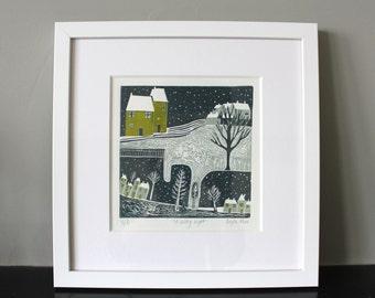 Linocut, Art Prints, Original Linocut print, Lino prints, Home Décor, Gallery Wall, Wall Décor, Wall Art prints, Art Prints, winter scene