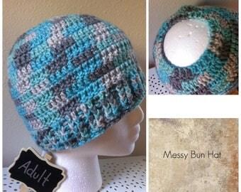 Messy Bun Hat Aqua Verigated