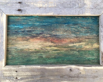 Mixed Media Landscape, Wood Fibre, Watercolor, Rustic, Wall Art, Natural Decor, Nature Art