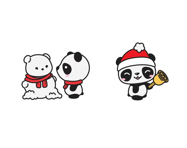 Premium Vector Clipart - Kawaii Christmas Pandas - Cute ...