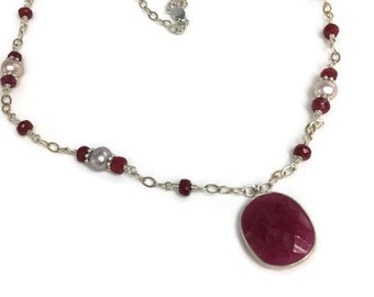 Sterling Silver Ruby necklace-Ruby and Pearl necklace-Genuine Ruby Gemstone jewelry-Gift for mom-July birthstone-gift under 75-Prom