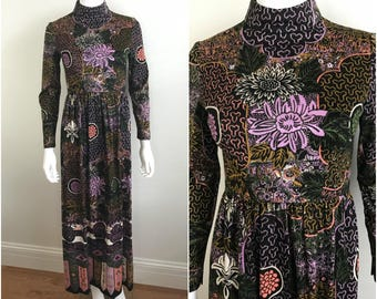 Vintage Rare 1960s LILLIE RUBIN Abstract Floral Maxi Dress High Neckline Art Deco XS S