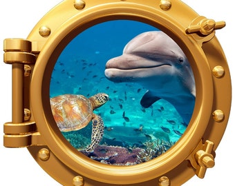 """Turtle Dolphin Underwater Porthole Wall Graphic Decal 12"""" Removable Reusable"""