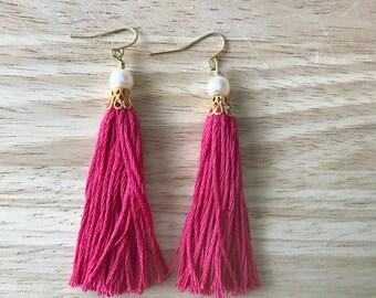 Tassel Earrings   Hot Pink Tassel Earrings   Dangle Earrings   Boho Tassels   Tassel Earrings with Pearl   Pink Tassels