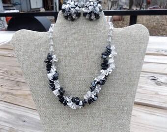 Vintage W. Germany Hematite & Crystal Necklace Set