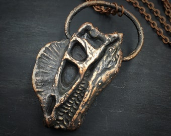 Dinosaur Necklace | Copper Electroformed | Dino Head