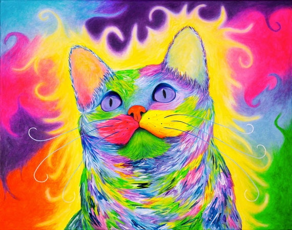 "Original Cat Painting ""Rainbow Kitty"" - Colorful Cat Art, Cat Wall Art Canvas, Cat Artwork, Cat Decor, Cats, Acrylic Painting."