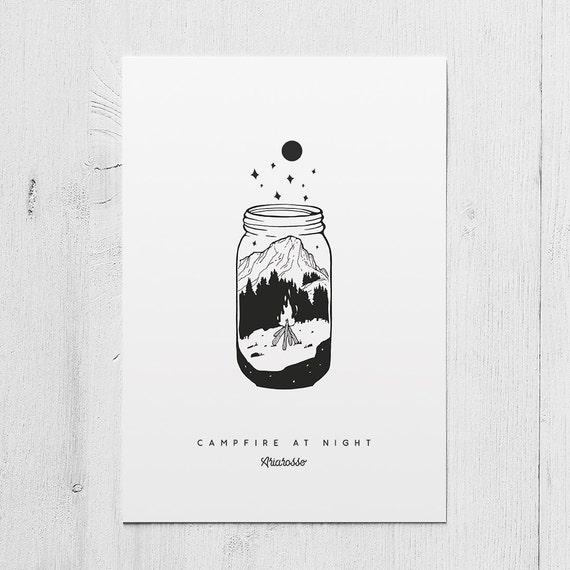Poster Art Print - Campfire at Night Blackwork Series A5 Size - Campfi...