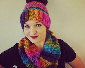 COMBO DEAL - Crochet Ombre Messy Bun Beanie + Infinity Scarf