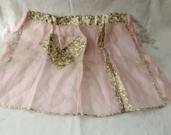 Vintage Pink Voile Apron