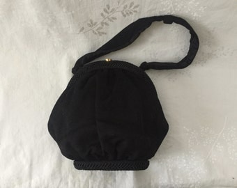 Vintage Black wool pocketbook