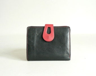 Womens Small Black Leather Wallet With Red Trim