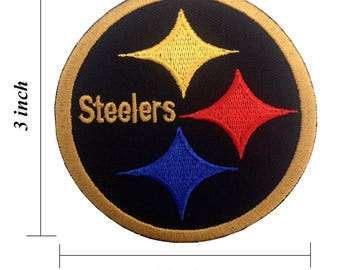 Pittsburgh Steelers Black Gold Embroidered Iron On Patch.