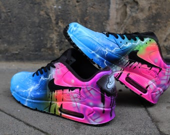 """Custom painted Airbrush Nike Air Max 90 """"Blue meets Pink"""" Unique Style Sneakers"""