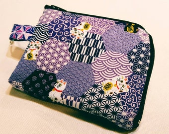 Credit Card Wallet, ID Wallet, Business Card Wallet, Keychan Wallet, Card Holder With Zipper, Fuku Kitty, Japanese Fabric