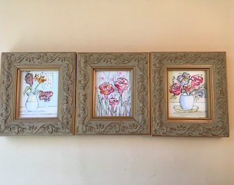 Trio of three frames with original watercolors.