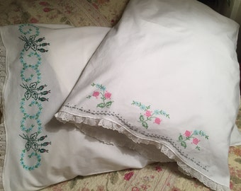 Embroidered Pillow Cases. Vintage material , excellent condition . No side seams. Cotton material