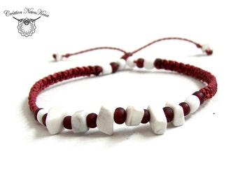 Personalized macrame bracelets - Wrist-ankle, Semi-precious stones - Man, woman, child - Boho chic, Bohemian -Creation NetenKena