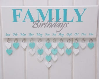 Family Birthday Reminder Plaque Board Calendar Gift