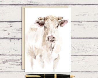 White Steer 5 x 7 Watercolor Greeting Card/ A7 Watercolor Greeting Card / White Cow / Farmhouse Greeting Card / Cow Art