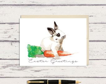 Easter Greeting Card / Black and White Bunny Rabbit Watercolor Art / A7 Greeting Card / Watercolor Bunny / Bunny Card / Easter Card