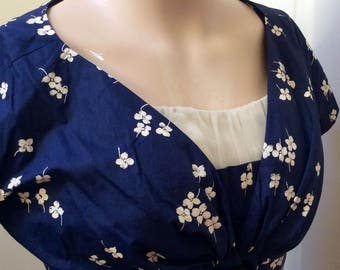 Perfect 1950s navy blue new look dress with matching bolero XS