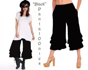ONE LEFT! Black Bloomer Pants/PantalOOnies/Capri/Ruffle Pants