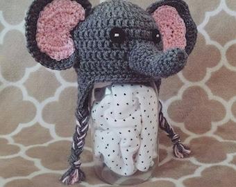 Baby Elephant Hat, Newborn Elephant Photo Prop, Crochet Elephant Hat, Crochet Baby Hat, Newborn Elephant Hat, Baby Photo Prop