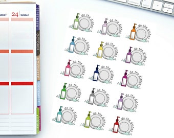 Large Do The Dishes Planner Stickers! Perfect for your Erin Condren Life Planner, calendar, Paper Plum, Filofax!