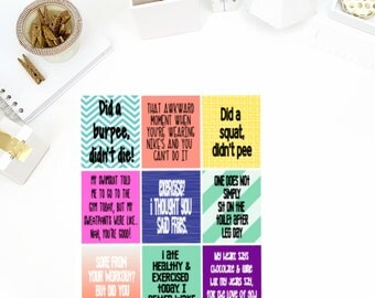 Funny Fitness #2 Quotes Stickers! Perfect for your Erin Condren Life Planner, calendar, Paper Plum, Filofax!
