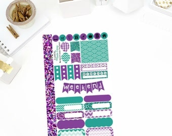 Mermaid Kisses Personal Weekly Kit! Perfect for your Erin Condren Life Planner, calendar, Paper Plum, Filofax!