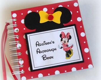 PERSONALIZED Disney Autograph Book Scrapbook Travel Journal Vacation Photo Album Minnie