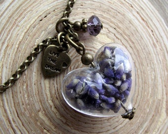 Chain heart Lavender glass hollow bead