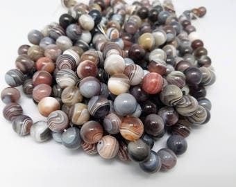 CLEARANCE SALE!  4mm, 6mm, 8mm, 10mm, 12mm, 14mm, Botswana Agate Smooth Round 15.5 Inch Strand